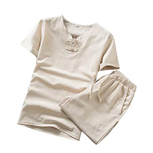 Ensemble de Pyjama Homme Coton Lin Set 2 Pièces Survêtement Pas Cher Sportswear Suit Grande Taille Homme T-Shirt Manches Courtes et Short