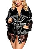 marysgift Damen Morgenmantel Große Größen Satin Kimono Spitze Bademantel Kurz Roben Satin Nachthemd Nachtwäsche Mit Schleife und Gürtel 5XL 48 50