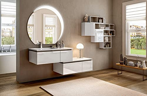 Mueble de baño suspendido Avril blanco, 100 cm, base con lavabo de resina