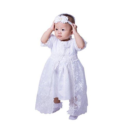 5PCs/Set Baby Girls White Christening Baptism Gown Princess Dress (12-15Months)