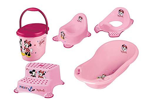 Disney Minnie Mouse 5 Z Set Baignoire + Pots + Wc Essai + Tabouret Deux Niveaux + Sceau à Couches Neuf