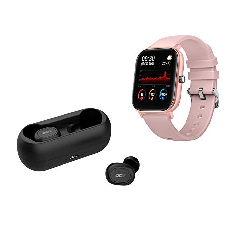 DCU TECNOLOGIC | Weihnachts-Set | Smartwatch + Earbuds Kopfhörer Bleutooth 5.0 | IP67 Aktivitätsarmband | Pulsmesser | wasserdicht IPX4 | Pink, Schwarz