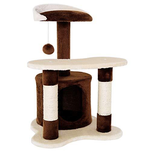 dibea Tiragraffi per gatto albero tiragraffi gatto gioco giocattolo gatti Altezza 65 cm marrone/beige