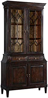 EuroLuxHome China Cabinet Rosalind Classic Solid Wood Dark Rustic Pecan Fretwork Doors