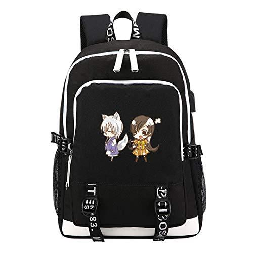 YOYOSHome Kamisama Kiss Anime Japonés Cosplay Daypack Bookbag Bolsa de ordenador portátil Mochila Mochila escuela con puerto de carga USB