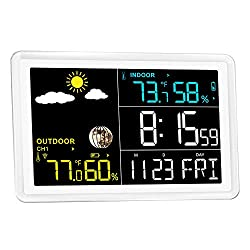Wittime 2081 Weather Stations Indoor Outdoor Thermometer Wireless Barometer Wireless Weather Station Digital Inside Outside Temperature Humidity Monitor with Color LCD Screen, Remote Sensor