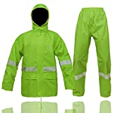 High Visibility Rain Suit with Stowable Hood Reflective Safety Waterproof Jacket & Trouser(Hi-Vis,Medium)
