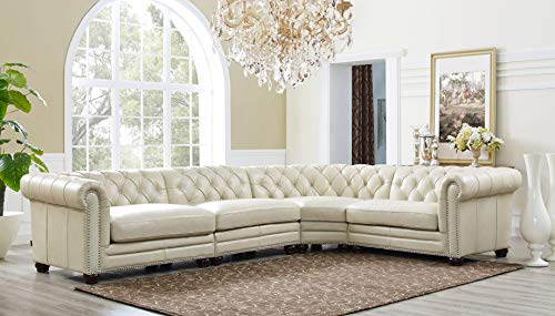 Hydeline Aliso 100% Leather Sectional Sofa, 4piece, Ivory