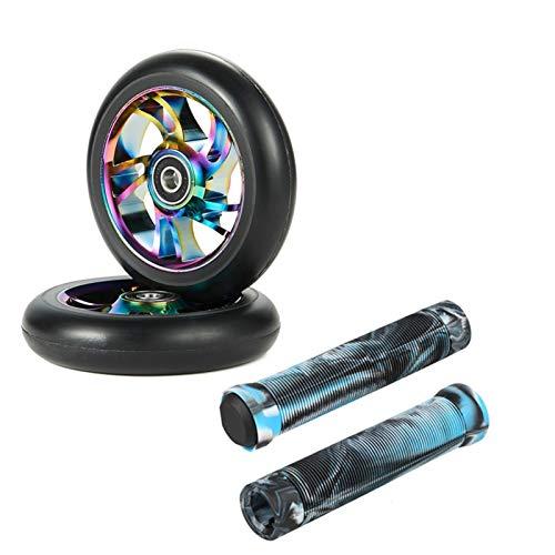 YOGCHJ Ruedas Scooter Freestyle,Ruedas Scooter 2pcs Reemplazo de 100 mm STUNC Scooter Wheels Rodamiento Scooter Ruedas con Stunt Scooter Freestyle Agarras (Color : Black with Blue)