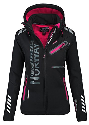 Geographical Norway Damen Softshell Funktions Outdoor Regen Jacke Sport [GeNo-24-Schwarz-Gr.L]