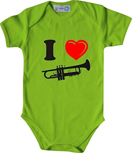 Unbekannt Lustiger Baby Body mit Druck/I Love Trompete/Farbe: Lindgrün/Größe: 50-56 (1-2 Monate)