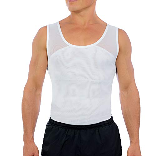『(Large, White) - Esteem Apparel Original Men's Compression Shirt to Hide Gynecomastia Moobs Chest Slimming Body Shaper Undershirt』のトップ画像