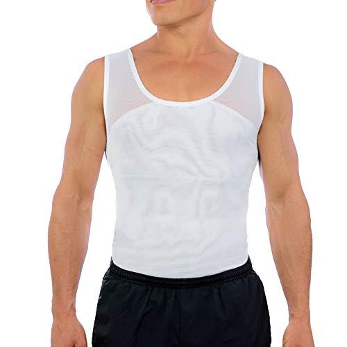 Esteem Apparel Original Men's Chest Compression Shirt to Hide Gynecomastia Moobs (White, X-Large)