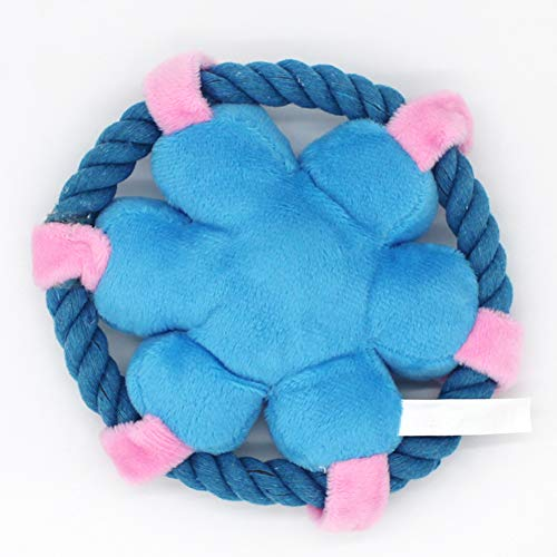zhenleisier Pet Toys,Pet Cats Kitten Catnip Cute Cotton Rope Flower Shape Plush Doll Squeaky Chew Toy Teeth Cleaning Interactive Hunting Exerccise Need Toy Blue