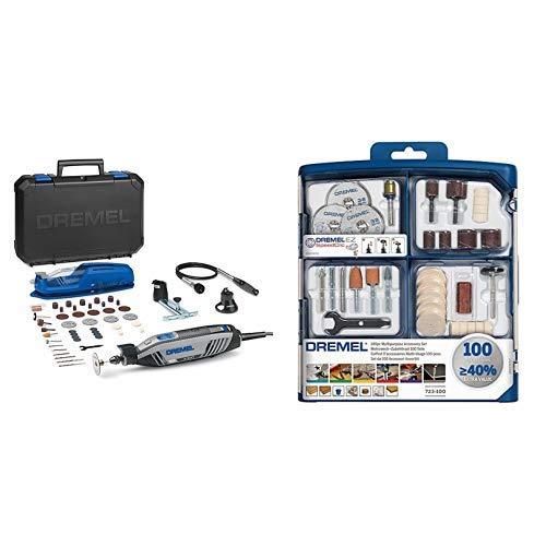 Dremel Multifunktionswerkzeug 4300-3/45 mit 45 tlg. Zubehör Set, biegsame Welle, Werkzeughalter, Werkzeugkoffer, Karton (175 Watt, Leerlaufdrehzahl: 5.000 -35.000 U/min) + Dremel 100-teiliges Mehrzweck Zubehörset (100x Zubehör, Spannzangenschlüssel, Aufbewahrungsbox)