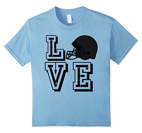 Kids Cute Love Football With Helmet T-Shirt for Sports Fans 10 Baby Blue