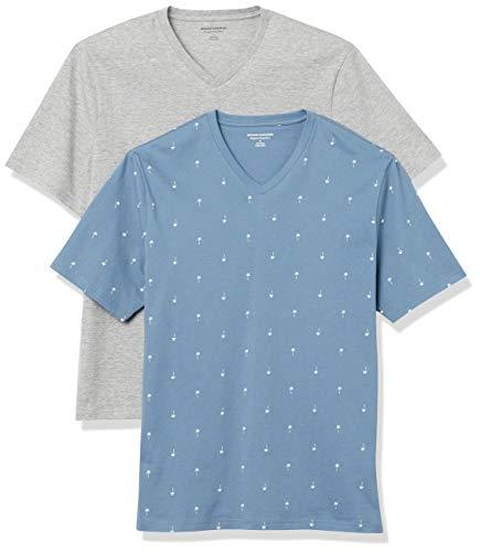Amazon Essentials Men's 2-Pack Loose-Fit Short-Sleeve V-Neck T-Shirt, Palm Tree/Grey Heather, Medium