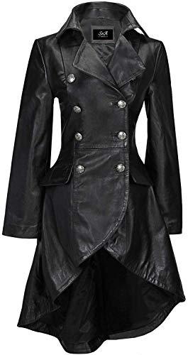 SNA Collection Chaqueta gótica negra de piel auténtica para mujer, estilo victoriano, con encaje