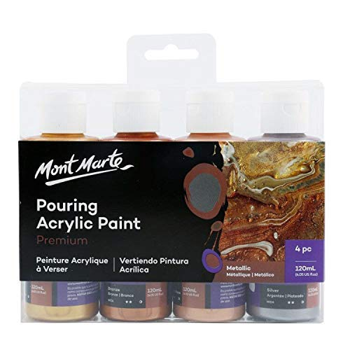 Mont Marte Pinturas Acrilicas Pouring Set Metalizada – 4 piezas x 120ml – Pinturas acrílicas premezcladas con Pouring Medium – Oro, Plata, Bronce, Oro Rosa
