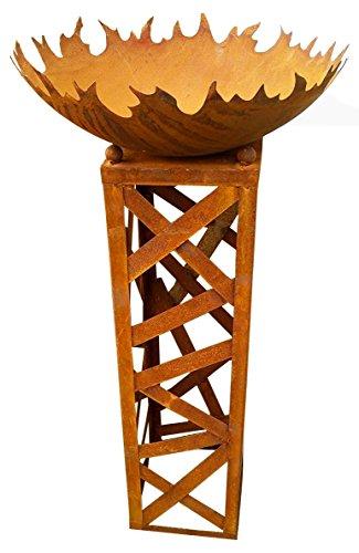 Zen Man Feuerschale Shanghai, Feuerkorb, Feuerstelle aus Stahlblech, Edelrost (50cm/1.8mm/80cm hoch)