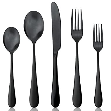 Black Silverware Set, Matte Black Flatware Set, AOOSY Heavy Solid 20-Piece 18/10 Stainless Steel Flatware Cutlery Set for 4, Mirror Finish, Dishwasher Safe, Nice Box Package(A Matte Black Flatware)