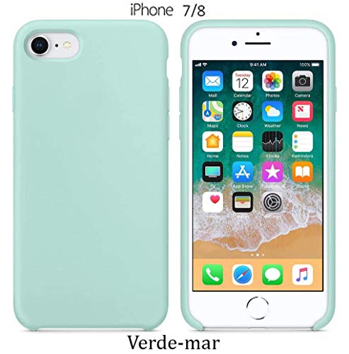 Funda Silicona para iPhone 8 iPhone 7, Silicone Case Calidad, Textura Suave, Forro Interno Microfibra (Verde-mar)