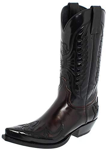 Sendra Boots Damen Herren Cowboy Stiefel 13170 Lederstiefel Schwarz Rot 46 EU