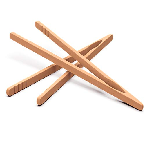 Wooden Toaster Tongs 2 PCs | Bamboo Kitchen Utensils For Cooking & Holding Toast Bacon Muffin Fruits, Pickles, Cheese Bagel Bread Ultra Grip | 9 Inch Long Natural Toxic Free