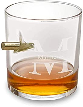 Personalized Bourbon Whiskey Glass with Engraved Monogram  Stamped  Etched Old Fashioned Glass with Bullet - Custom Drinking Gift for Him Birthday and Fathers Day Gift for Dad Husband Boyfriend