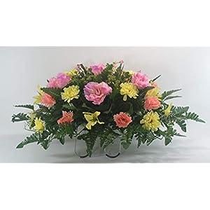 R53 Spring Cemetery Flower Arrangement, Easter Saddle, Headstone Saddle, Grave, Tombstone Arrangement, Cemetery Flowers