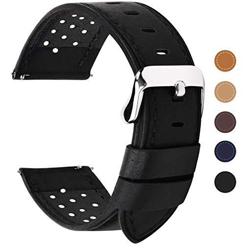Fullmosa 5 Colori per Cinturino di Ricambio, Breeze Cinturino in Pelle per Orologio da Donna e Uomo,Adatto a Orologio Tradizionali e Smart Watch di18mm,20mm,22mm o 24mm,18mm Nero