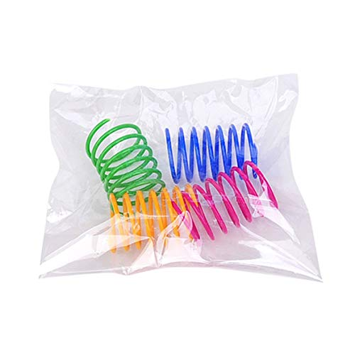 KKAAMYND 4Pcs Plastic Spring Cat Toy Colorful Coil Spiral Springs Pet Action Wide Durable Interactive Toy Pet Accessory Multicolor Interactive Toy: The Interactive cat Toys Help Increase The Bond be