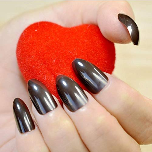 JSIYU Faux Ongles Courts Ovales Tranchants Solides Faux Ongles Stiletto Pointu Pure Color Gel UV Porter Des Conseils Complets, F75 A