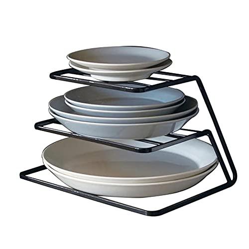 Haucy Escurreplatos de cocina de 3 capas de acero inoxidable, color negro