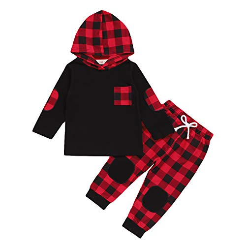 Toddler Baby Boys Girls Clothes Long Sleeve Hoodie Sweatshirt Tops +Plaid Pants Christmas Outfit Set (Red, 4-5T)
