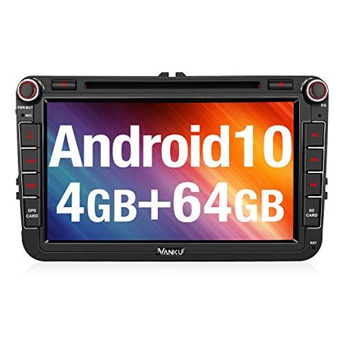 Vanku Android 10 Autoradio für VW Radio 64GB+4GB mit Navi DVD Player Unterstützt Qualcomm Bluetooth 5.0 DAB + WiFi 4G USB MicroSD 8 Zoll IPS Bildschirm