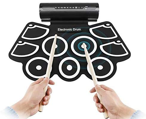 Percussione strumento Rullo spesso mano siliconica tamburi tamburo Jazz USB tamburo elettronico (Colore: nero) 8bayfa (Color : Black)