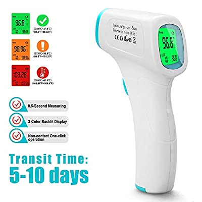 Non-Contact Digital Infrared Forehead Thermometer Gun with LED Display, Forehead Thermometer for Adults and Infants (Transit time: 5-10 Days)