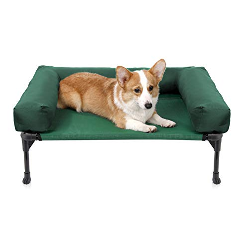 Veehoo Bolster Elevated Dog Bed – Cooling Raised Pet Bed Chew Proof Textilene Mesh, Durable & Washable Pet Cot, Medium, Green