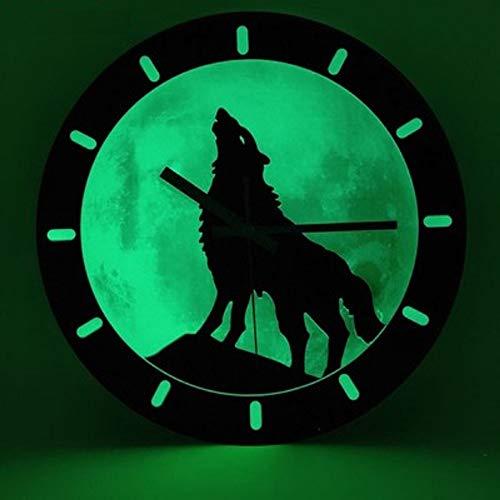 Ayanx Wandklok Lichtgevend Aantal Hangende Houten Klokken Rustig Donker Gloeiende Wandklokken Moderne Horloges Decoratie Voor Woonkamer Kantoor Slaapkamer 30 * 30cm