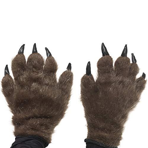 Amakando Gruselige Handschuhe mit Wolfskrallen / Braun / Behaarte Hände mit Tatzen & Krallen / Genau richtig zu Horror-Party & Kostümfest