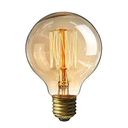 Edison Vintage Glühbirne,Lomire 1PC 40W Dekorative Glühbirne,Warmweiß Dimmbar Spiral Filament Amber Glas Retro Glühlampe Birne Antike Lampe Ideal für Nostalgie und Retro Beleuchtung G80 (1Stück)