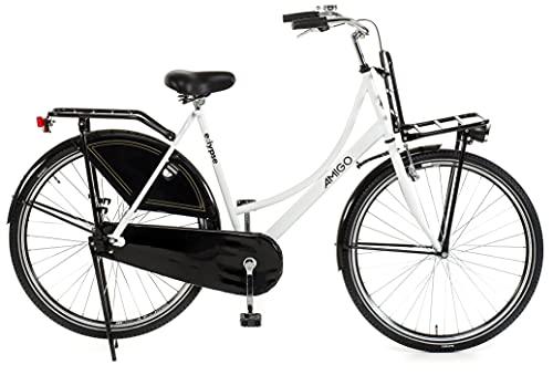 Amigo Eclypse - Cityräder für Damen - Damenfahrrad 28 Zoll - Geeignet ab 175-185 cm - Citybike mit Handbremse, Rücktritt, Gepäckträger Vorne, Beleuchtung und fahrradständer - Weiß/Schwarz