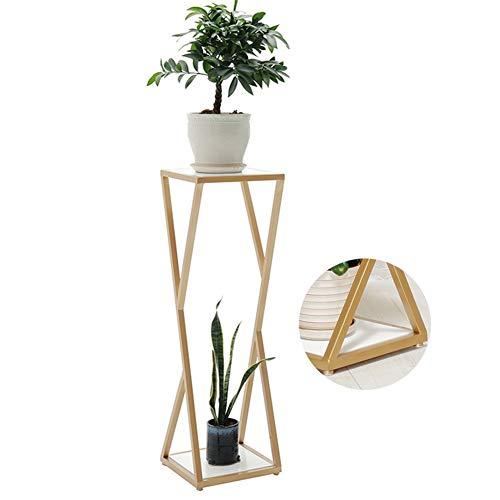ZHANWEI växtblomstativ massiv träpanel golvstående metall inomhus blomkrukor hållare, 3 storlekar (färg: Guld, storlek: 30 x 30 x 100 cm)