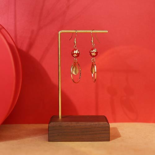 GemeShou Walnut Brass Earring Display Stands Retail Luxury Jewelry Shelf Earring Cardboard Hanger Wooden Ring Holder Minimal Photo Props for Craft Show【Walnut Brass L Shelf Height 5.3