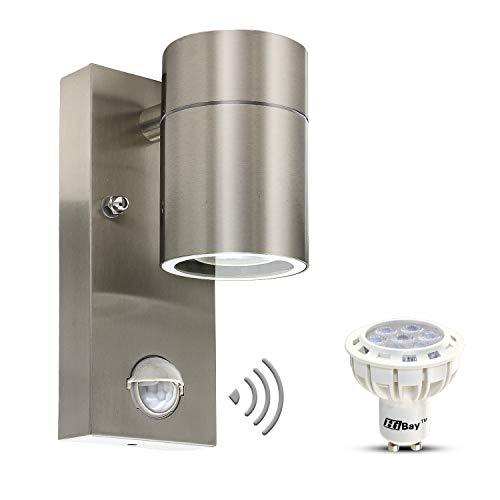 LED Aussenleuchte mit Bewegungsmelder Wandleuchte Edelstahl GU10 Außenlampe inkl. LED Lampe 7W Warmweiß