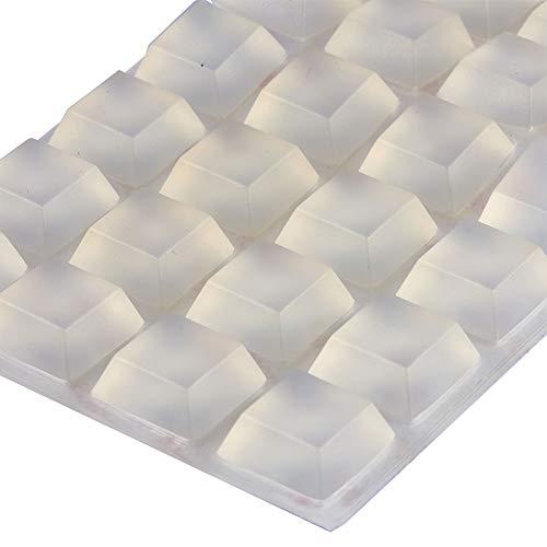 INCREWAY 32 Piezas Pies de Goma, 20*20*8mm Transparentes Silicona Almohadilla Autoadhesiva Parachoques para Muebles Topes de Protección
