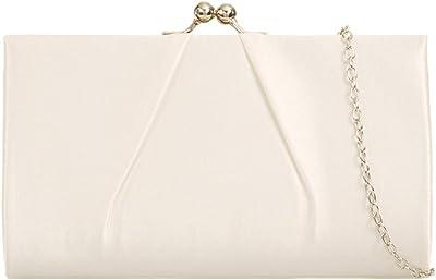 Purple Possum® Clutch, elfenbeinfarbene Satin-Abendtasche mit Verschluss oben, Geldbörse, Damen-Schultertasche, Abschlussball oder Hochzeit Handtasche