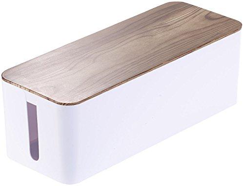 Callstel Kabelaufbewahrung: Kabelbox groß, 39 x 15,5 x 14 cm, in Nussbaum-Holzoptik mit Gummifüßen (Kabel Ordnung)