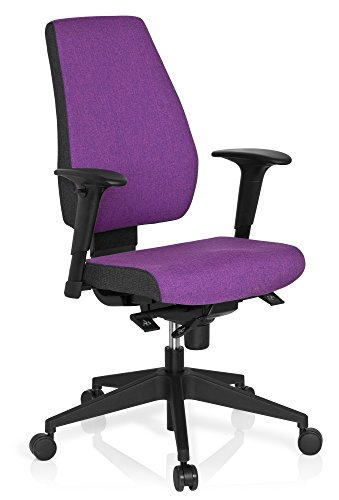 hjh OFFICE 608817 Profi Bürostuhl PRO-TEC 500 Stoff Lila Drehstuhl ergonomisch, Rückenlehne & Armlehnen höhenverstellbar